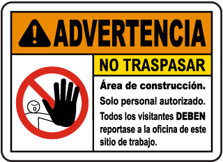 Spanish Warning Construction Area No Trespassing Sign