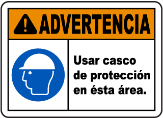 Spanish Warning Hard Hat Area Sign