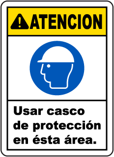Spanish Caution Hard Hat Area Sign