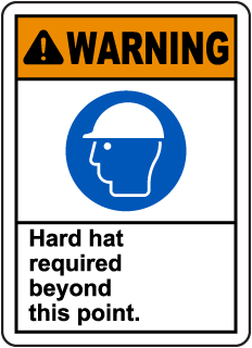 Warning Hard Hat Required Sign
