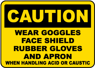 Caution Wear Goggles, Face Shield, Rubber Gloves And Apron When Handling Acid Or Caustic sign