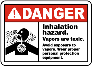 Danger Inhalation hazard Vapors area toxic Sign