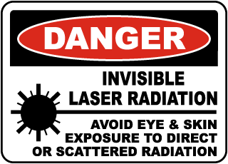 Danger Invisible Laser Radiation Avoid Eye & Skin Exposure To Direct Or Scattered Radiation sign