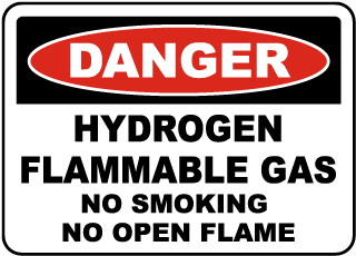 Danger Hydrogen Flammable Gas No Smoking No Open Flame sign