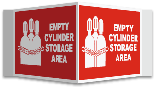 3-Way Empty Cylinder Area Sign