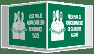 Spanish Full Cylinder Storage Area 3-Way Sign