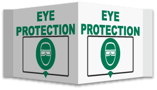 Eye Protection with down arrow sign
