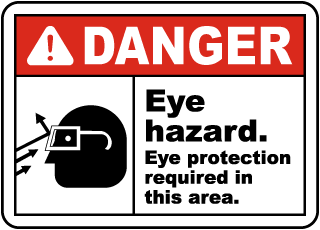 Danger Eye hazard. Eye protection required in this area sign