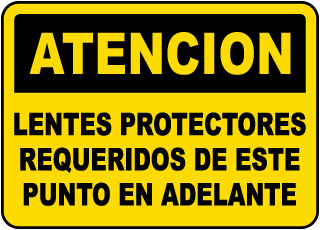 Spanish Caution Safety Glasses Must Be Worn Label