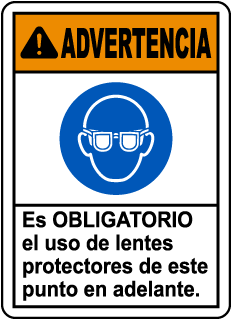 Spanish Warning Safety Glasses Required Sign