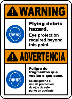 Bilingual Warning Flying Debris Hazard Eye Protection Sign