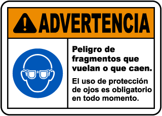 Spanish Warning Flying Debris Hazard Safety Glasses Label