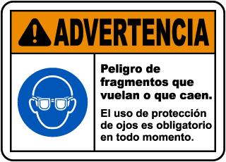 Spanish Warning Flying Debris Hazard Safety Glasses Label