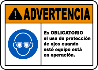 Spanish Eye Protection Required While Operating Label