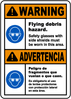 Bilingual Warning Flying Debris Hazard Safety Glasses Sign