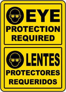 Bilingual Eye Protection Required Label