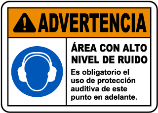 Spanish Loud Noise Hearing Protection Required Sign