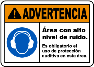 Spanish Hearing Protection Required In This Area Sign