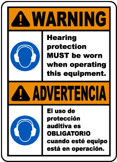 Bilingual Warning Hearing Protection Must Be Worn Sign