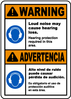 Bilingual Warning Hearing Protection Required Sign