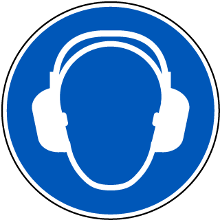 Hearing Protection Symbol Floor Sign