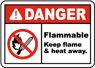 Danger Flammable. Keep flame and heat away label