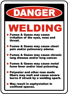 Danger Welding Fumes & Gases may cause irritation of the eyes, nose and throat.. Sign