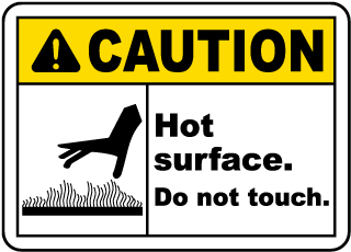 Caution Hot surface. Do not touch sign