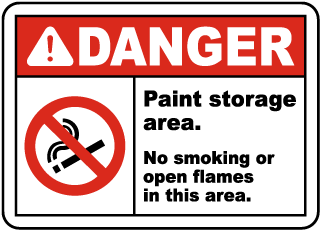 Danger Paint storage area. No smoking or open flames in this area sign