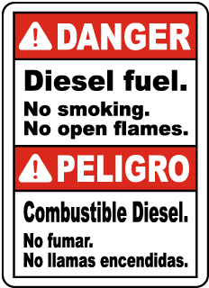 Bilingual DangerSign, Diesel fuel. No smoking. No open flames sign