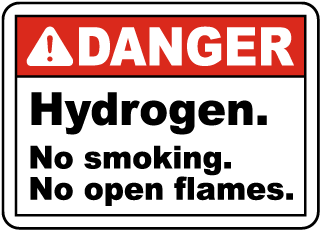 Danger Hydrogen. No smoking. No open flames sign