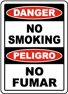 Danger No Smoking Peligro No Fumar Sign