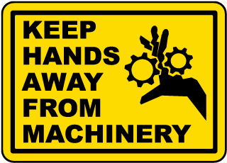 Keep Hands Away From Machinery Label