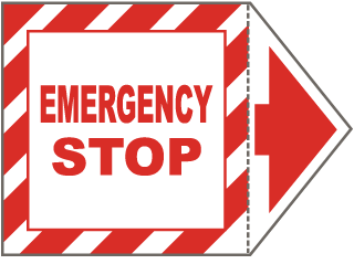 Emergency Stop Arrow Label