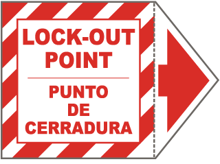 Bilingual Lock Out Point Arrow Label