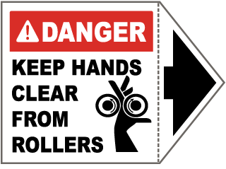 Danger Keep Hands Clear From Rollers Label