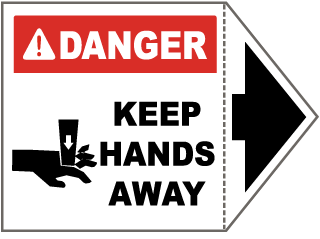 Danger Keep Hands Away Arrow Label