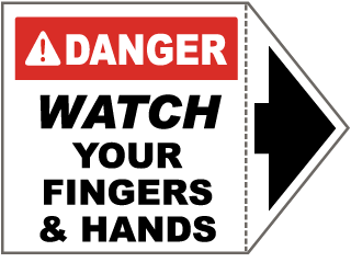 Danger Watch Your Fingers Arrow Label