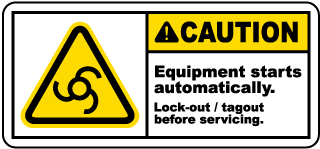 Caution Equipment starts automatically Lock-out tagout before servicing label