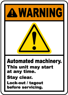 Warning Automated machinery This unit may start at any time Stay clear Lock-out tagout before servicing label