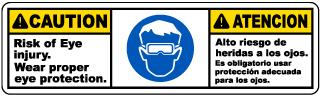 Bilingual Wear Proper Eye Protection Label