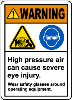 Wear Safety Glasses Around Equipment Label