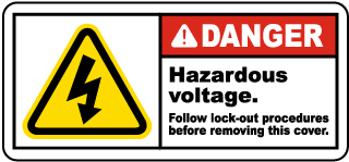 Danger Hazardous voltage. Follow lock-out procedures before removing this cover label