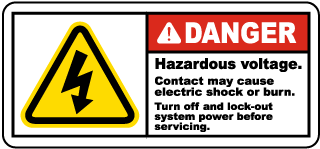 Danger Hazardous voltage. Contact may cause electric shock or burn. Turn off and lock-out system power before servicing label