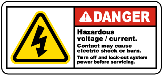 Danger Hazardous voltage / current. Contact may cause electric shock or burn label