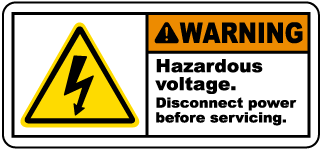 Warning Hazardous voltage. Disconnect power before servicing label