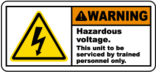 Warning Hazardous voltage. This unit to be serviced by trained personnel only label