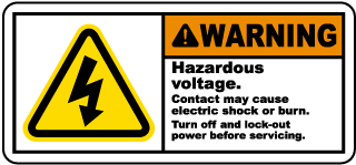 Warning Hazardous voltage Contact may cause electric shock or burn.. Label