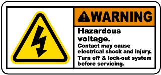 Warning Hazardous voltage Contact may cause electrical shock.. Label