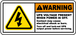 Warning UPS Voltage Present When Power Is Off.. Label